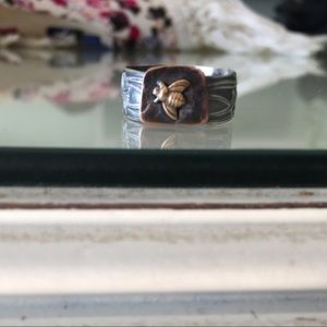 Hand made sterling silver bee ring
